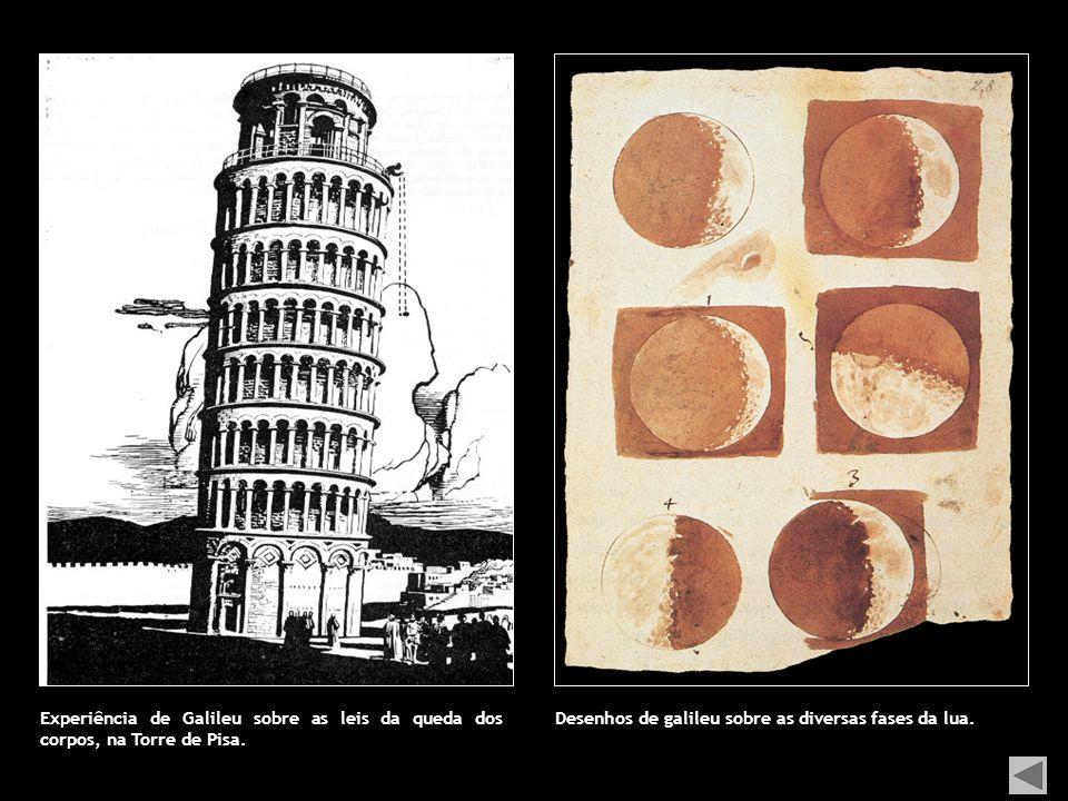 Experiência de Galileu sobre as leis da queda dos corpos, na Torre de Pisa.