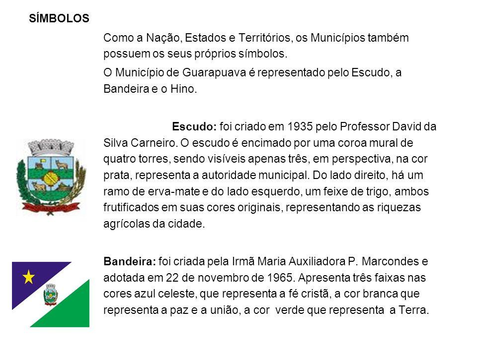 SÍMBOLOS Como a Nação, Estados e Territórios, os Municípios também possuem os seus próprios símbolos.