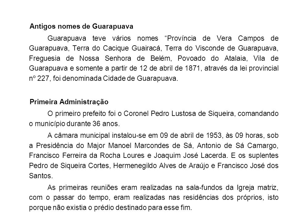 Antigos nomes de Guarapuava