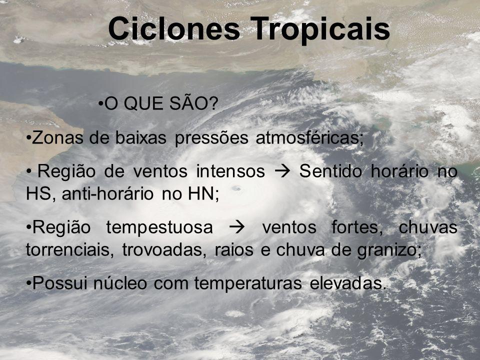 Ciclones Tropicais O QUE SÃO Zonas de baixas pressões atmosféricas;