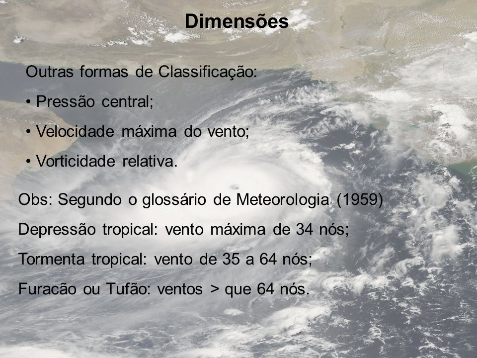 Dimensões Outras formas de Classificação: Pressão central;
