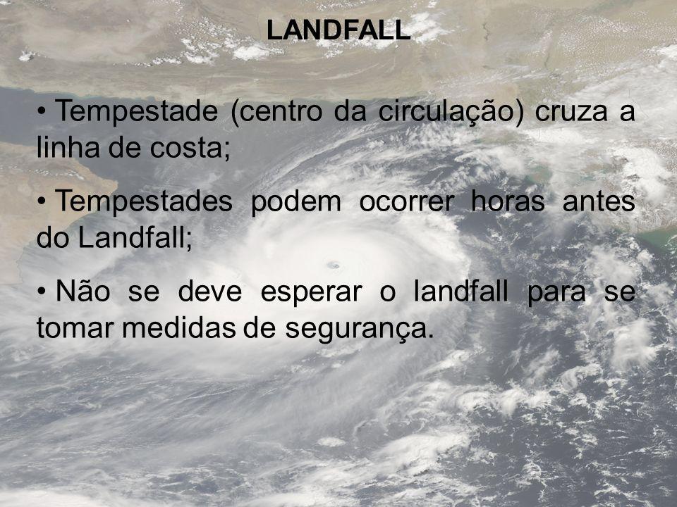 Tempestade (centro da circulação) cruza a linha de costa;