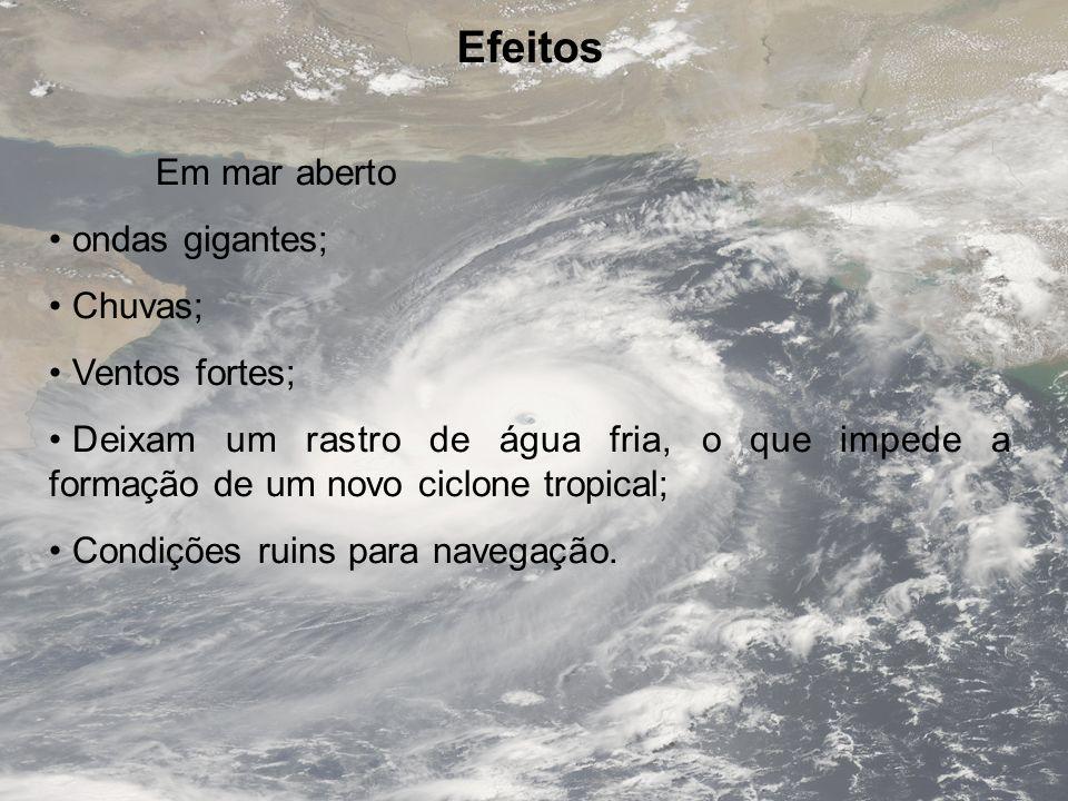 Efeitos Em mar aberto ondas gigantes; Chuvas; Ventos fortes;