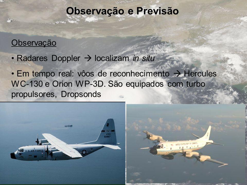 Observação e Previsão Observação Radares Doppler  localizam in situ