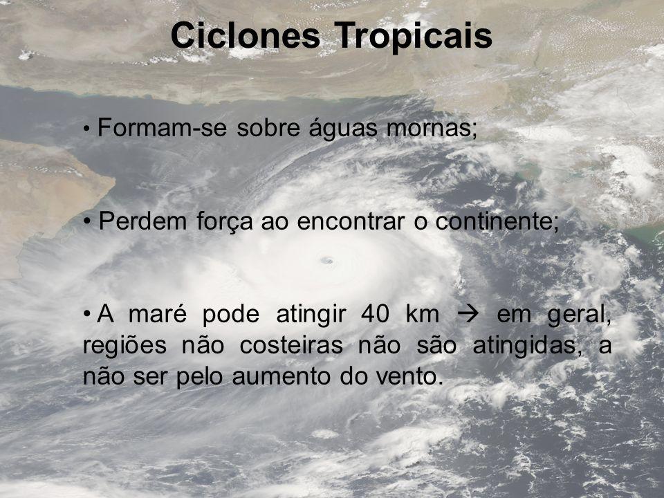 Ciclones Tropicais Perdem força ao encontrar o continente;