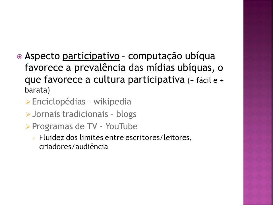 Aspecto participativo – computação ubíqua favorece a prevalência das mídias ubíquas, o que favorece a cultura participativa (+ fácil e + barata)