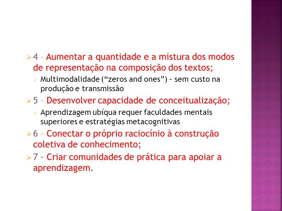 5 – Desenvolver capacidade de conceitualização;