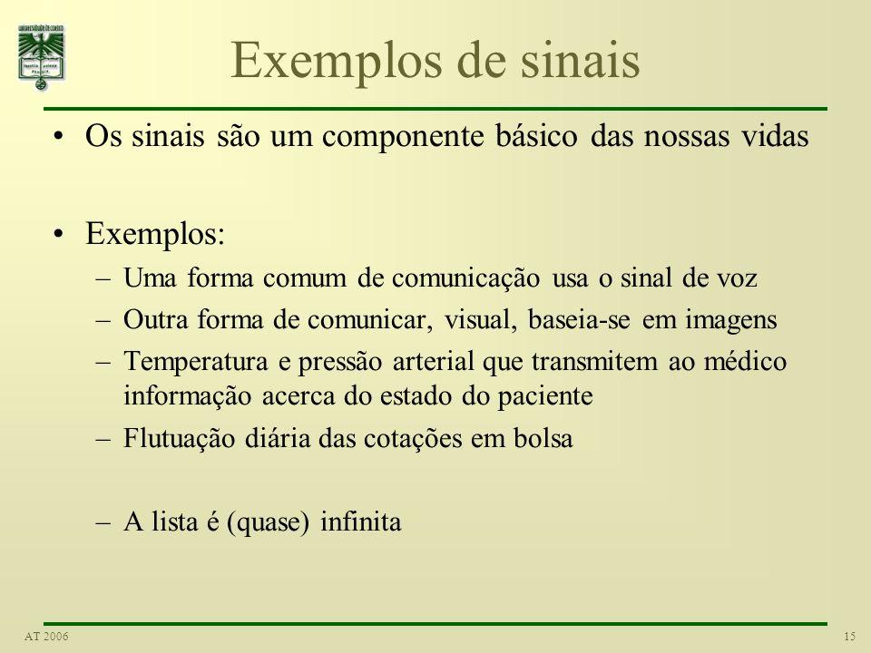 Exemplos de sinais Os sinais são um componente básico das nossas vidas