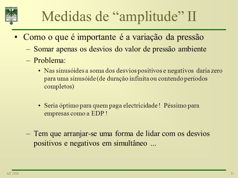 Medidas de amplitude II