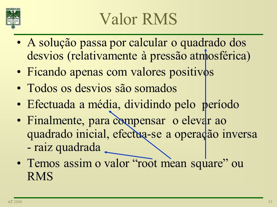 Valor RMS A solução passa por calcular o quadrado dos desvios (relativamente à pressão atmosférica)