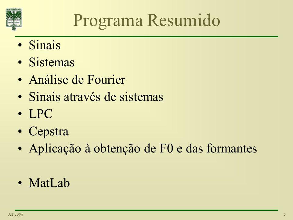 Programa Resumido Sinais Sistemas Análise de Fourier