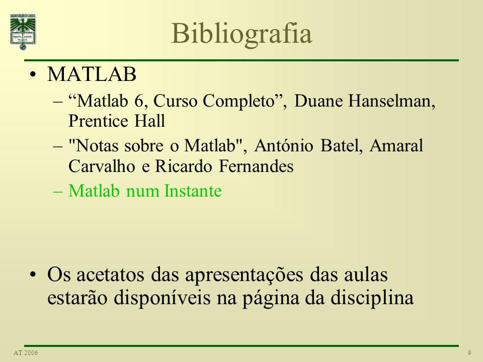 Bibliografia MATLAB. Matlab 6, Curso Completo , Duane Hanselman, Prentice Hall.