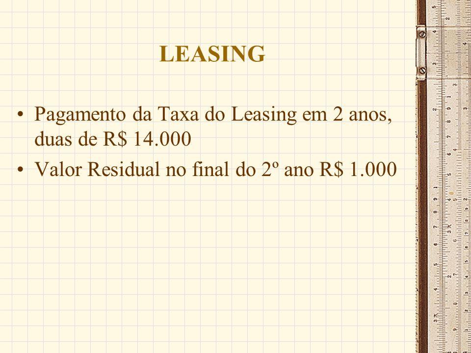 LEASING Pagamento da Taxa do Leasing em 2 anos, duas de R$ 14.000