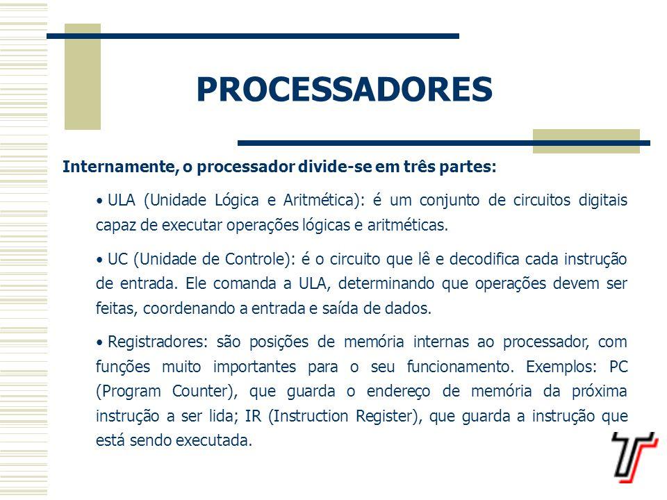 PROCESSADORES Internamente, o processador divide-se em três partes: