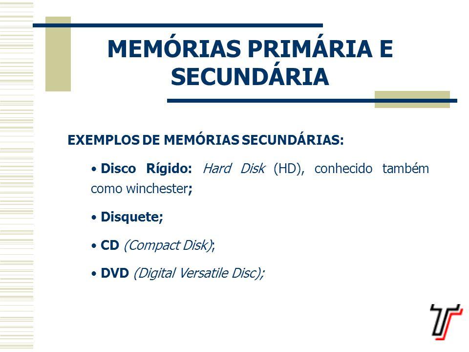 MEMÓRIAS PRIMÁRIA E SECUNDÁRIA