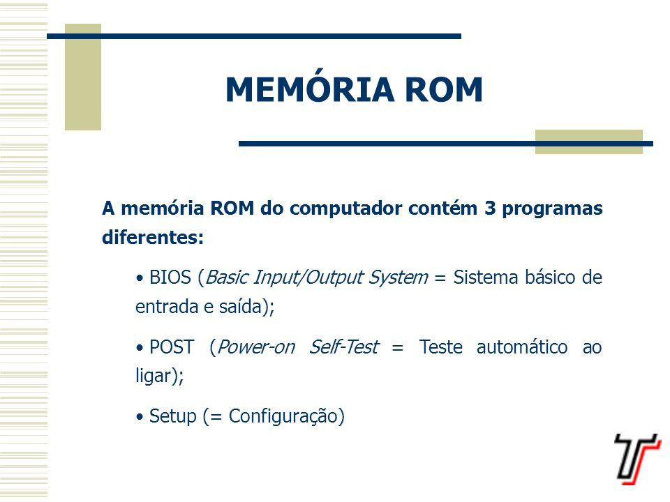 MEMÓRIA ROM A memória ROM do computador contém 3 programas diferentes: