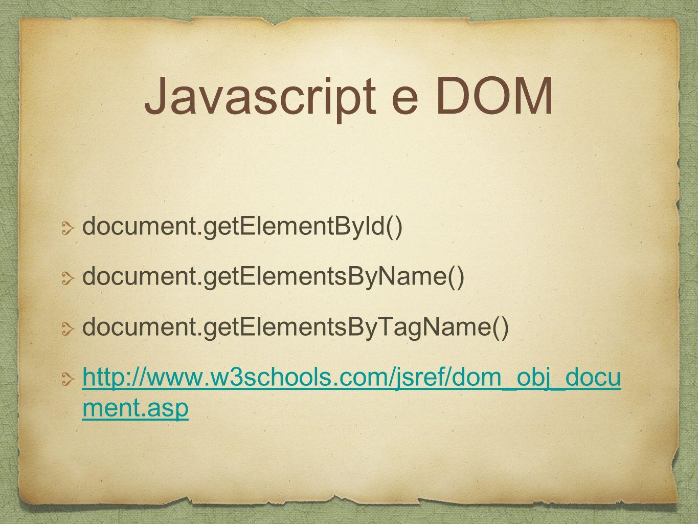 Javascript e DOM document.getElementById()