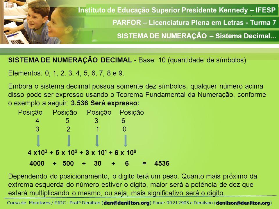 SISTEMA DE NUMERAÇÃO – Sistema Decimal...