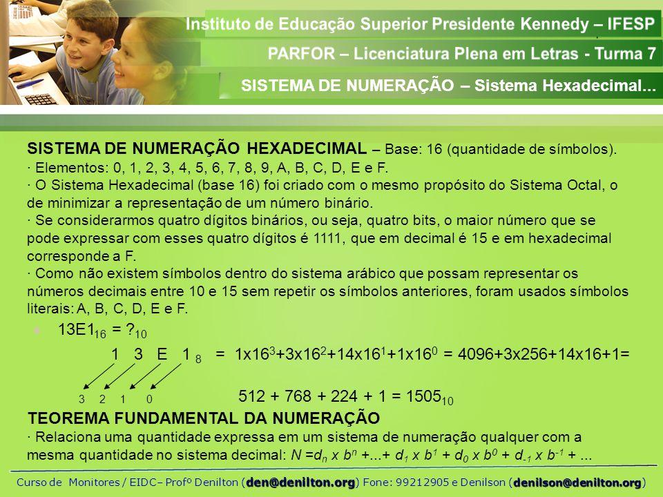 SISTEMA DE NUMERAÇÃO – Sistema Hexadecimal...