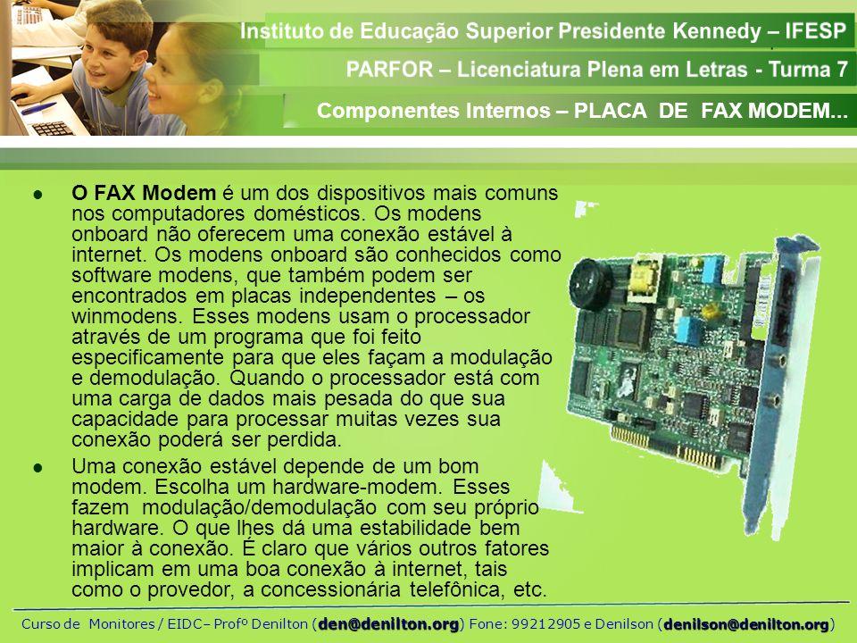 Componentes Internos – PLACA DE FAX MODEM...