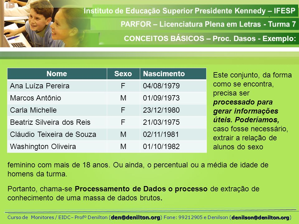 CONCEITOS BÁSICOS – Proc. Dasos - Exemplo: