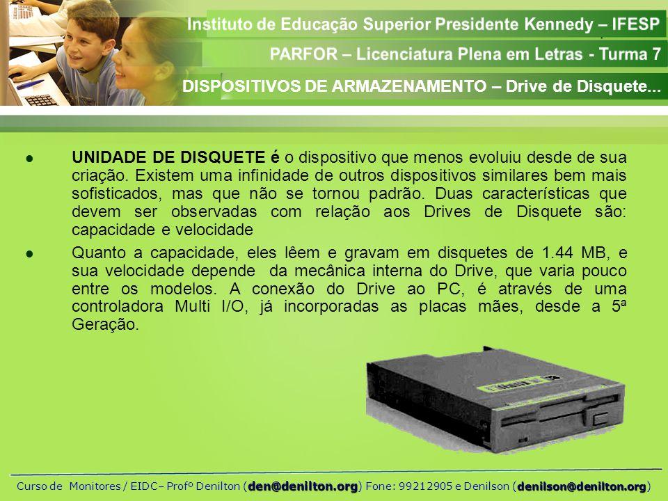 DISPOSITIVOS DE ARMAZENAMENTO – Drive de Disquete...