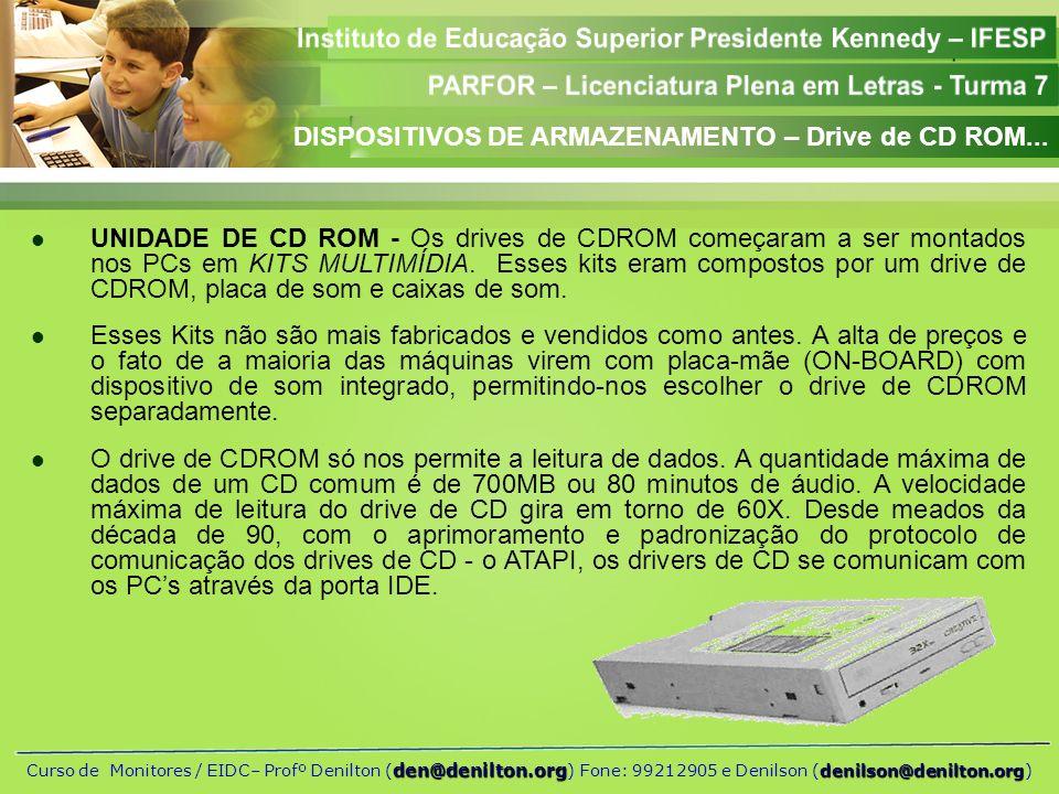 DISPOSITIVOS DE ARMAZENAMENTO – Drive de CD ROM...