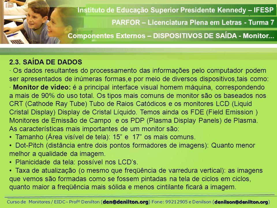 Componentes Externos – DISPOSITIVOS DE SAÍDA - Monitor...