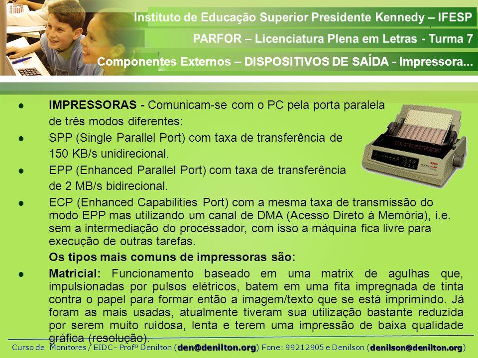 Componentes Externos – DISPOSITIVOS DE SAÍDA - Impressora...