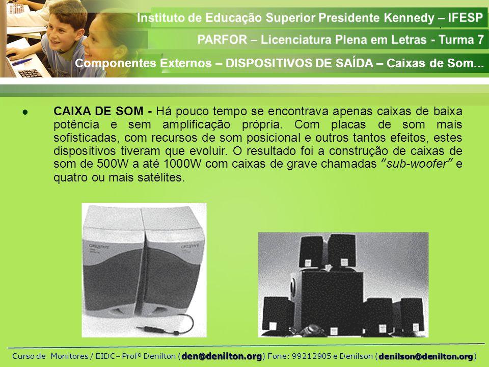 Componentes Externos – DISPOSITIVOS DE SAÍDA – Caixas de Som...