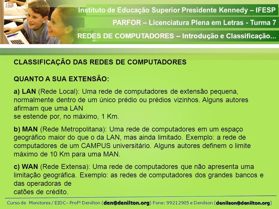 REDES DE COMPUTADORES – Introdução e Classificação...