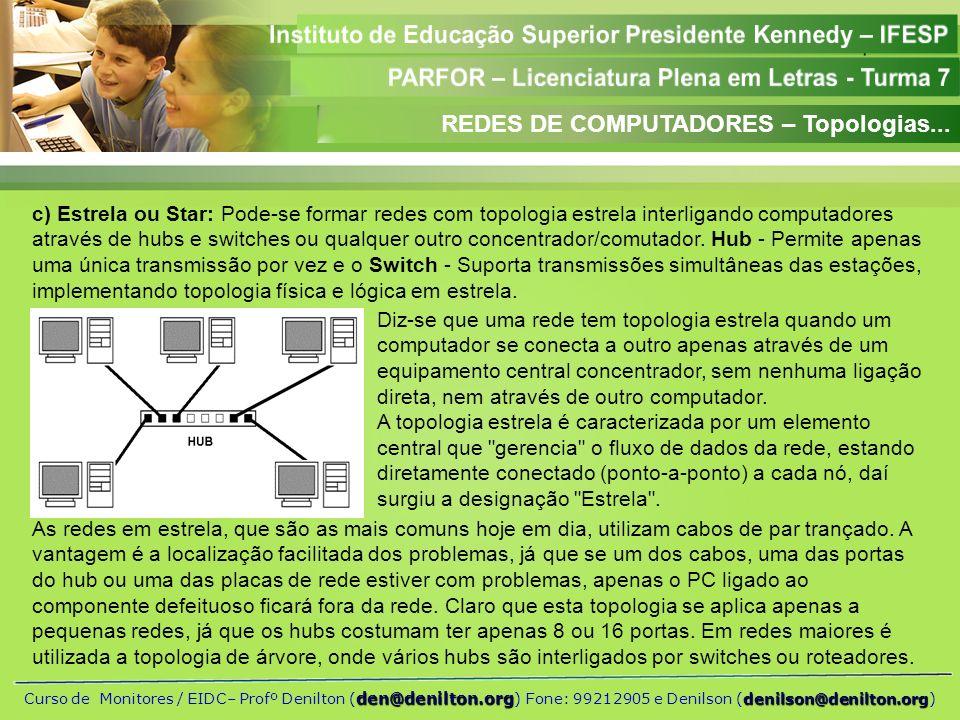 REDES DE COMPUTADORES – Topologias...