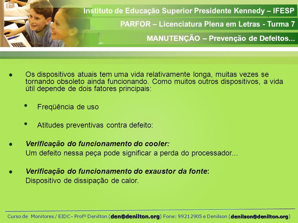 MANUTENÇÃO – Prevenção de Defeitos...