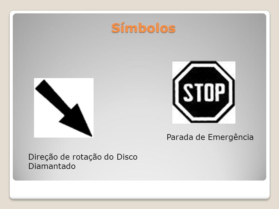 Símbolos Parada de Emergência Direção de rotação do Disco Diamantado