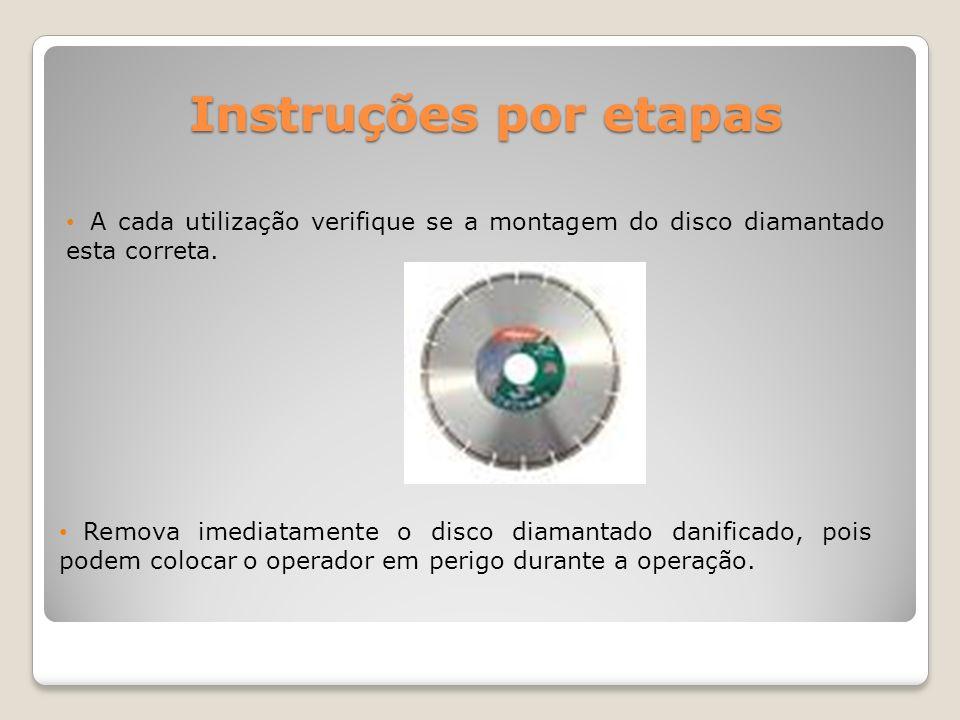 Instruções por etapas A cada utilização verifique se a montagem do disco diamantado esta correta.