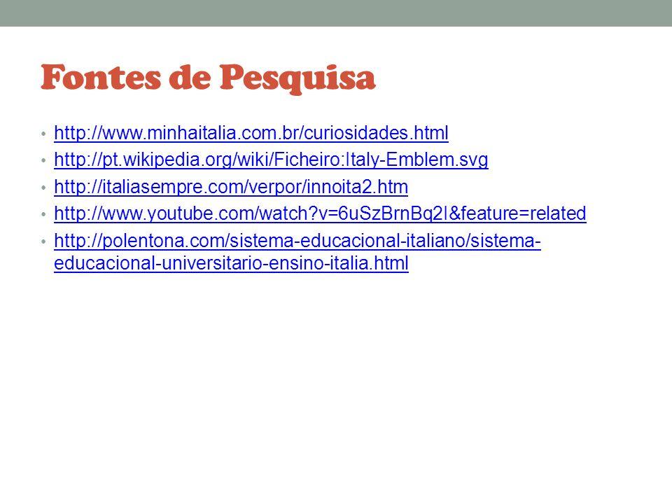 Fontes de Pesquisa http://www.minhaitalia.com.br/curiosidades.html