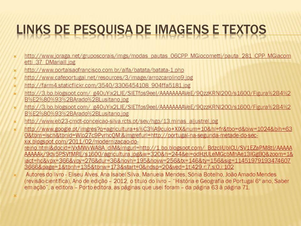 Links de pesquisa de imagens e textos