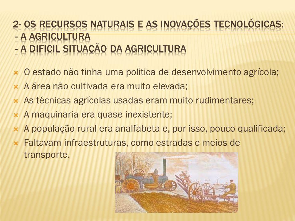 2- Os recursos naturais e as inovações tecnológicas: - A agricultura - a DIFICIL SITUAÇÃO DA AGRICULTURA