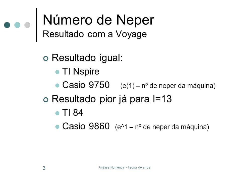Número de Neper Resultado com a Voyage