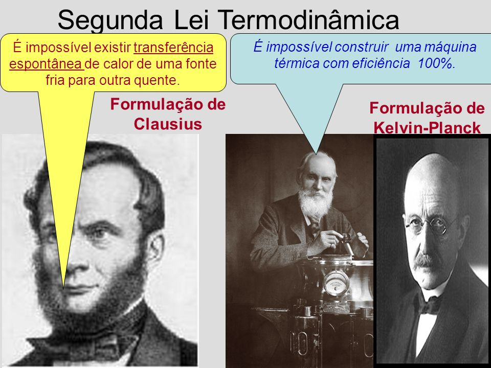 Formulação de Clausius Formulação de Kelvin-Planck