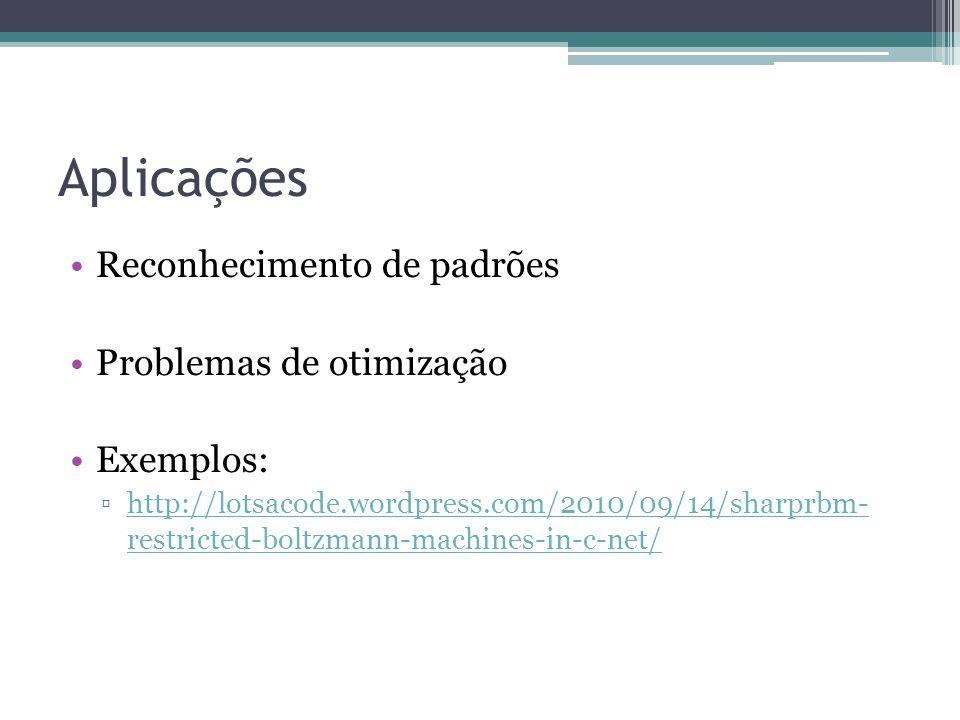 Aplicações Reconhecimento de padrões Problemas de otimização Exemplos: