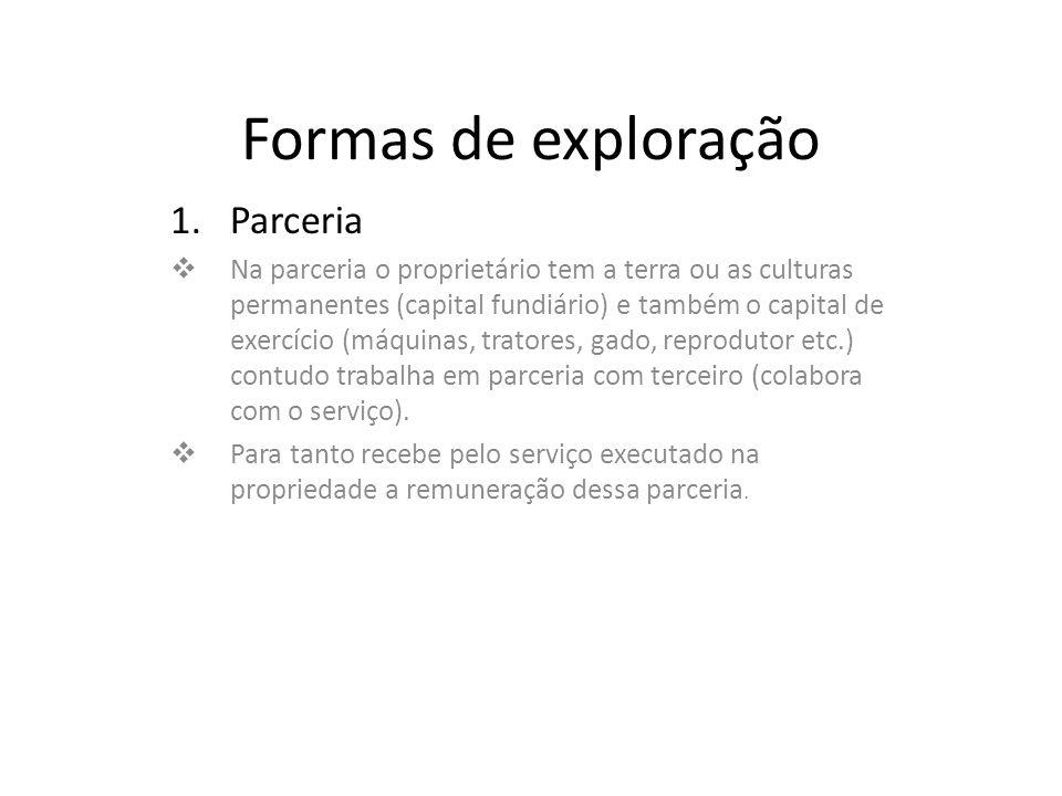 Formas de exploração Parceria