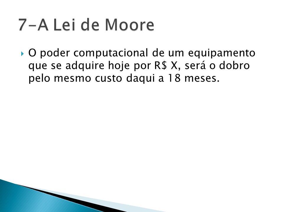 7-A Lei de Moore O poder computacional de um equipamento que se adquire hoje por R$ X, será o dobro pelo mesmo custo daqui a 18 meses.