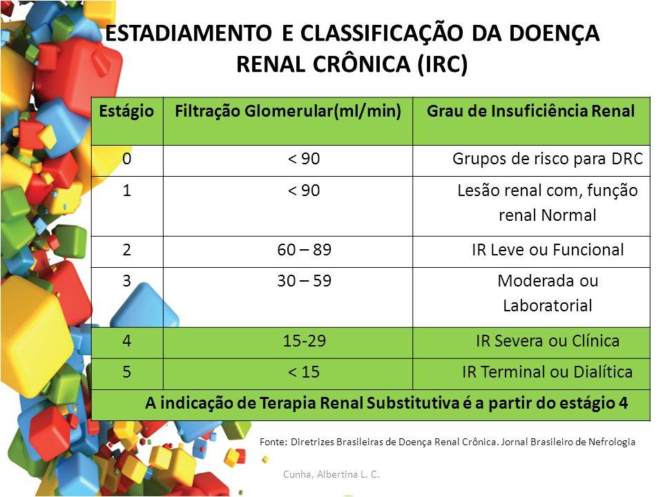 ESTADIAMENTO E CLASSIFICAÇÃO DA DOENÇA RENAL CRÔNICA (IRC)