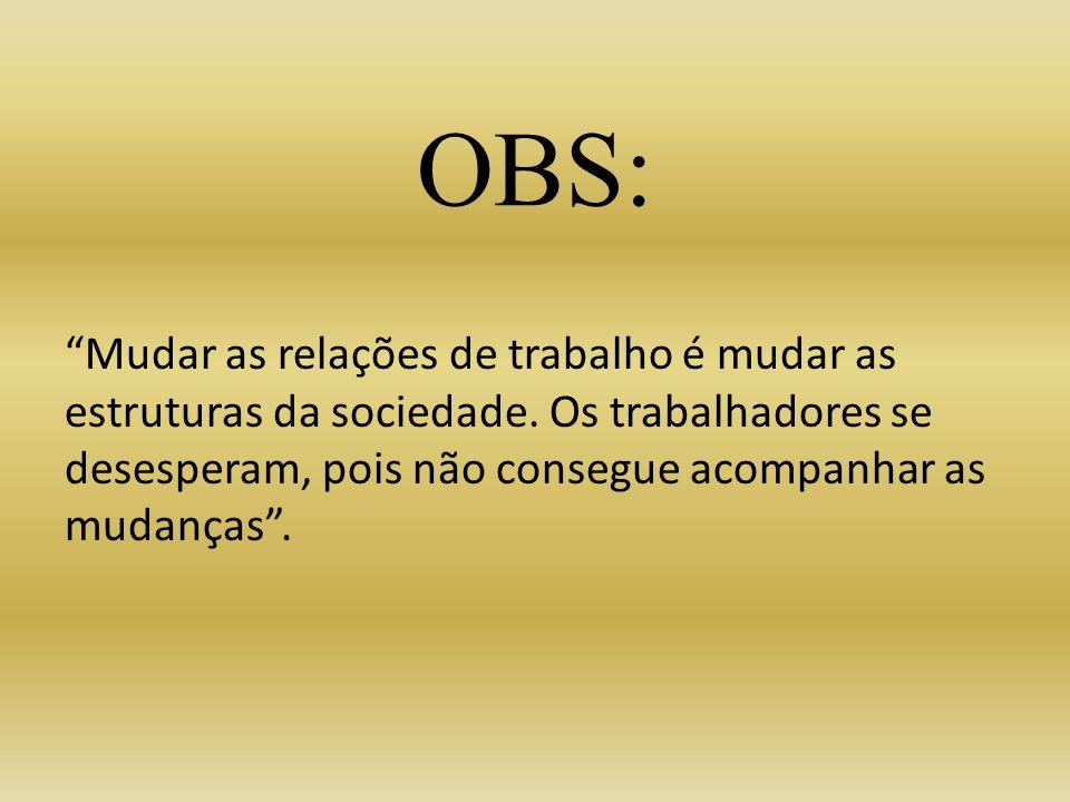 OBS: Mudar as relações de trabalho é mudar as estruturas da sociedade.
