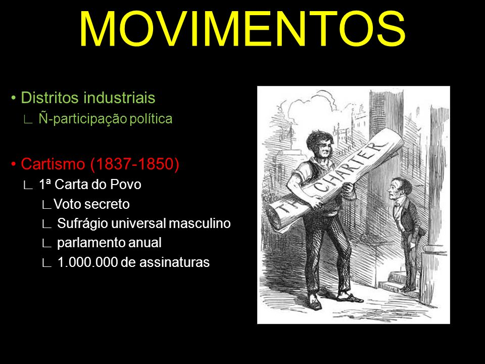 MOVIMENTOS • Distritos industriais • Cartismo (1837-1850)
