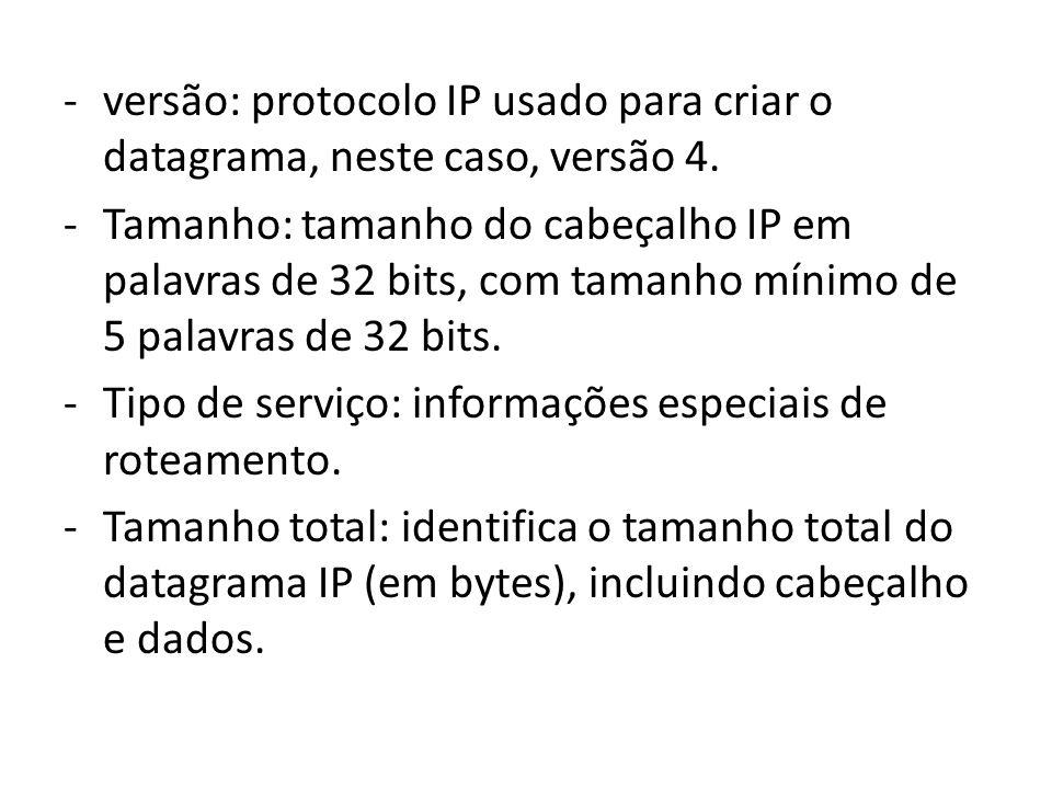 versão: protocolo IP usado para criar o datagrama, neste caso, versão 4.