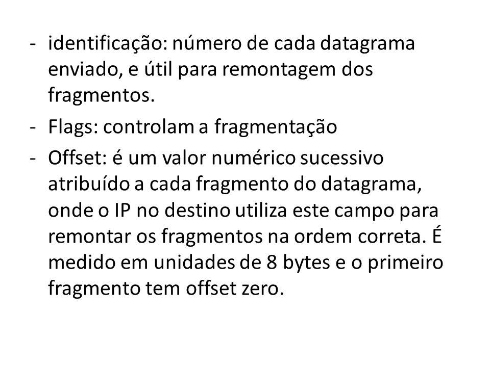 identificação: número de cada datagrama enviado, e útil para remontagem dos fragmentos.