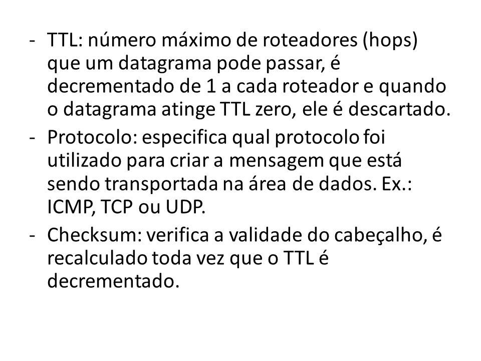 TTL: número máximo de roteadores (hops) que um datagrama pode passar, é decrementado de 1 a cada roteador e quando o datagrama atinge TTL zero, ele é descartado.
