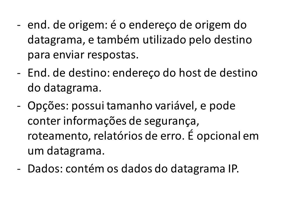 end. de origem: é o endereço de origem do datagrama, e também utilizado pelo destino para enviar respostas.